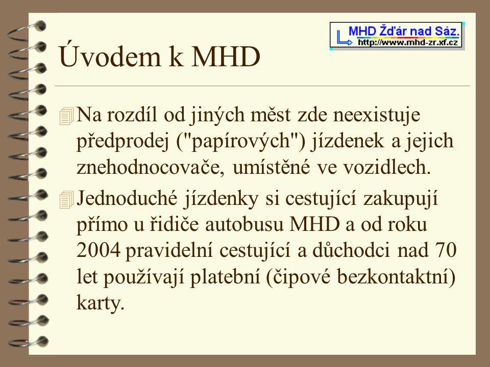 Úvodem k MHD 4 Na rozdíl od jiných měst zde neexistuje předprodej (