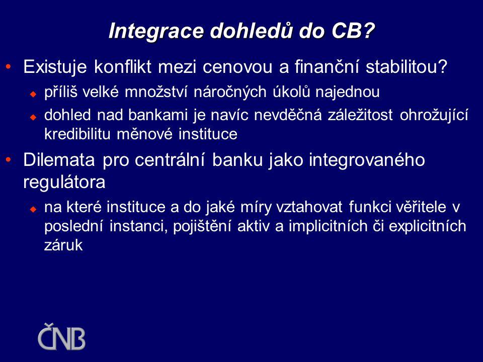 Integrace dohledů (role pro centrální banky)