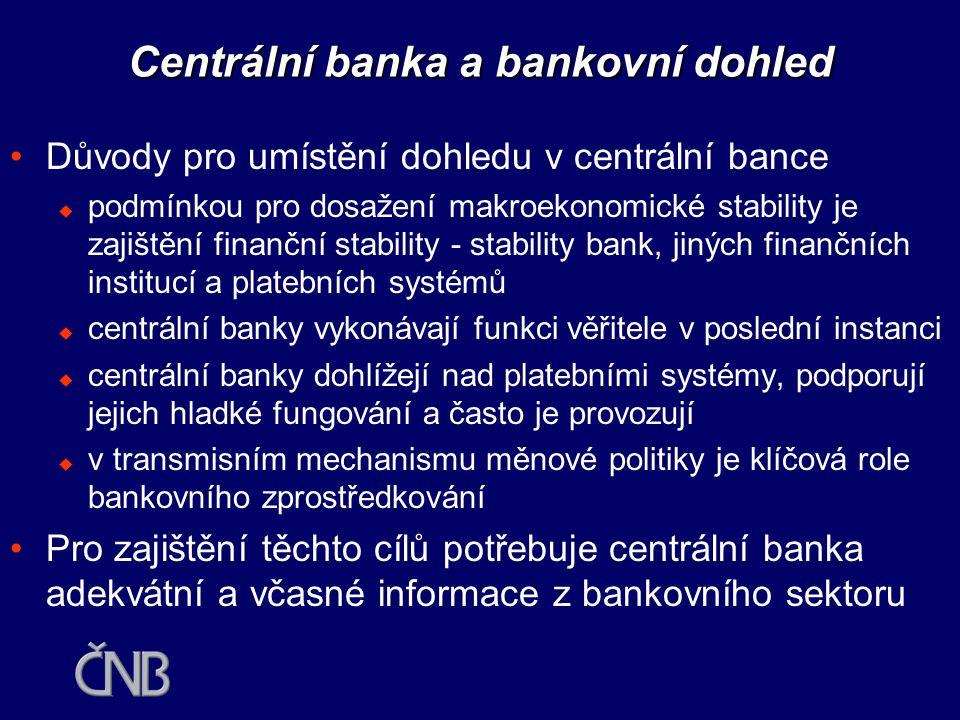 Integrace dohledů do CB? •Existuje konflikt mezi cenovou a finanční stabilitou?  příliš velké množství náročných úkolů najednou  dohled nad bankami