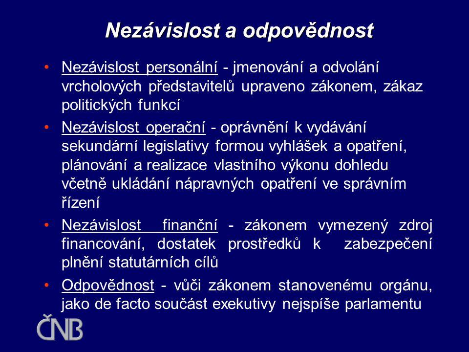 Kritéria pro rozhodování o integraci dohledu v ČR •Nezávislost a odpovědnost •Očekávané přínosy •Rizika a náklady