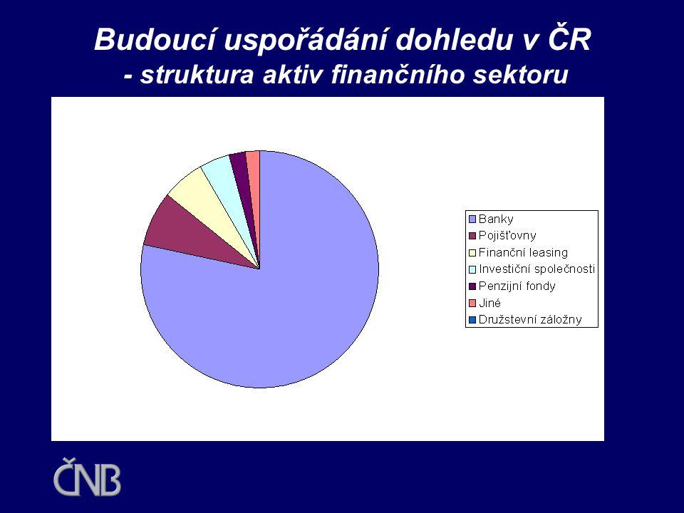 Budoucí uspořádání dohledu v ČR •Diskutované návrhy uvažují do budoucnosti s jedním regulátorem, v mezidobí se dvěma institucemi •Stěžejní otázkou je umístění a výkon dohledu nad bankami •ČNB měla mít nadále významnou roli v dozorování nad bankami a dalšími finančními institucemi  český finanční systém je založen na bankovním sektoru, který se na celkových aktivech podílí téměř 80 %  základem finančního systému jsou bankovní skupiny  ČNB provádí dohled na subkonsolidované bázi nad bankovními skupinami