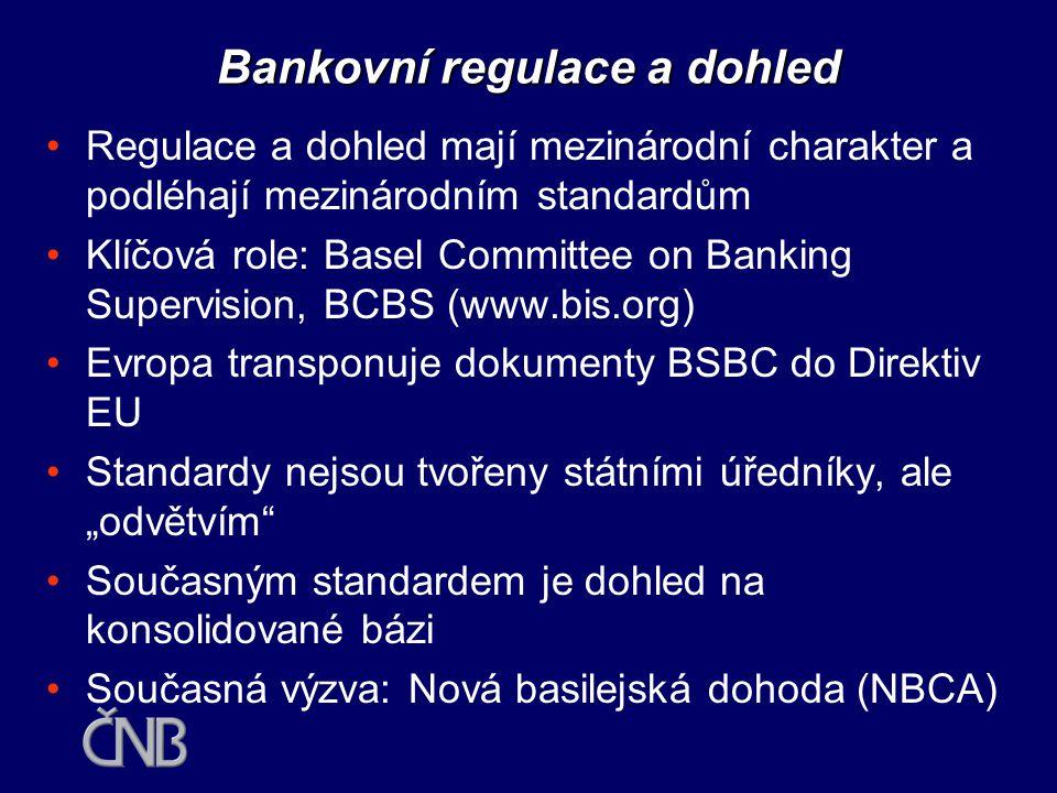 •Cíle a organizace bankovní regulace a dohledu •Mezinárodní praxe v dozorování •Trendy k integraci dozorů •Bankovního dohled a centrální banka •Budoucnost uspořádání dozoru v ČR •Český bankovní sektor a EU Obsah přednášky