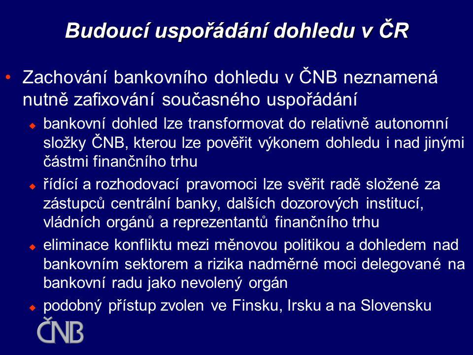 Budoucí uspořádání dohledu v ČR •V bankovních skupinách se v loňském roce nacházelo 63 % aktiv finančního trhu, 53 % ve 4 největších skupinách •Vytvoření integrovaného dozoru mimo ČNB by tak v podstatě znamenalo zase jen nákladné vybudování rozšířeného bankovního dohledu •ČNB splňuje základní předpoklad pro dozorování - má dostatečnou nezávislost, lidské a technické kapacity •ČNB je jako provozovatel systému mezibankovních plateb zodpovědná za stabilitu platebních systémů