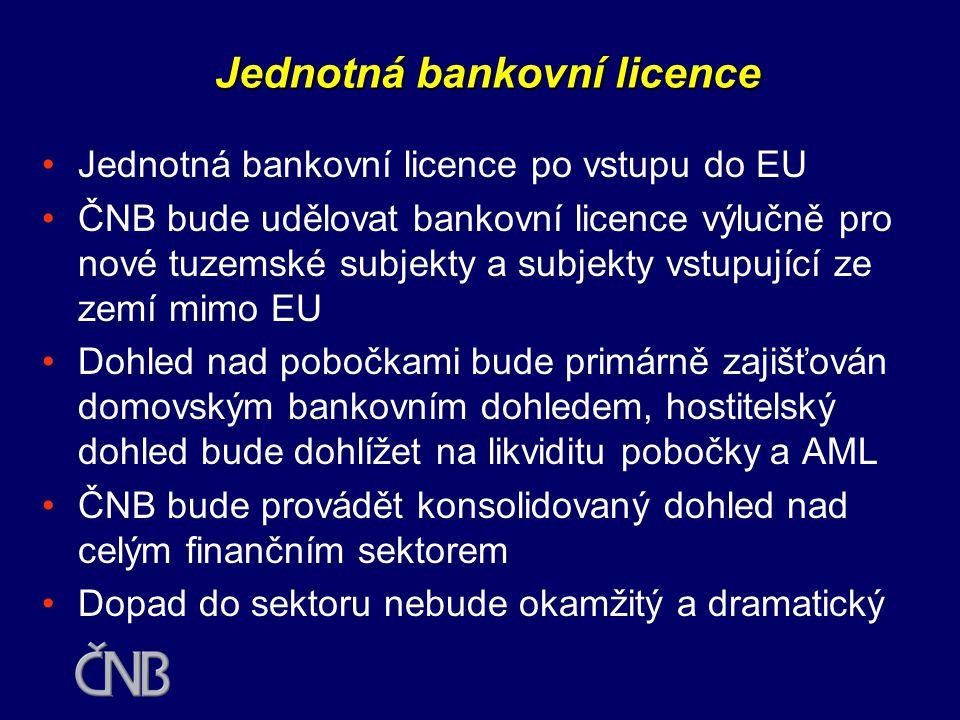 •Český bankovní systém patří mezi relativně největší z kandidátských zemí •V současnosti je plně mezinárodní České bankovnictví po vstupu do EU