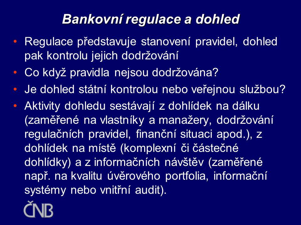 """•Regulace a dohled mají mezinárodní charakter a podléhají mezinárodním standardům •Klíčová role: Basel Committee on Banking Supervision, BCBS (www.bis.org) •Evropa transponuje dokumenty BSBC do Direktiv EU •Standardy nejsou tvořeny státními úředníky, ale """"odvětvím •Současným standardem je dohled na konsolidované bázi •Současná výzva: Nová basilejská dohoda (NBCA) Bankovní regulace a dohled"""