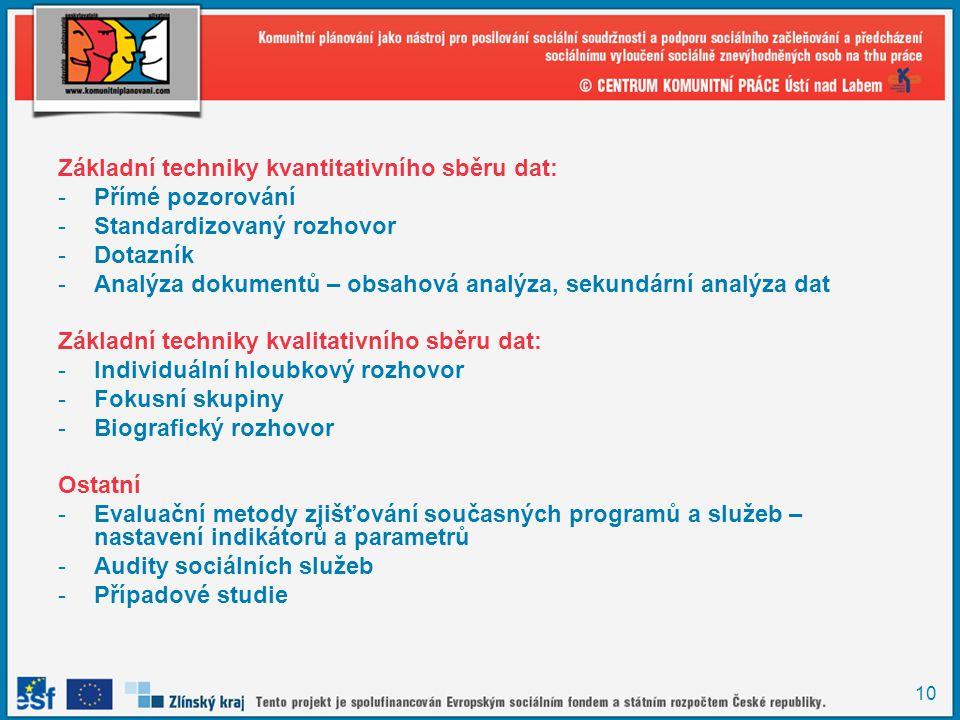 10 Základní techniky kvantitativního sběru dat: -Přímé pozorování -Standardizovaný rozhovor -Dotazník -Analýza dokumentů – obsahová analýza, sekundárn
