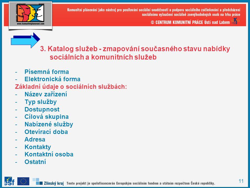 11 3. Katalog služeb - zmapování současného stavu nabídky sociálních a komunitních služeb -Písemná forma -Elektronická forma Základní údaje o sociální