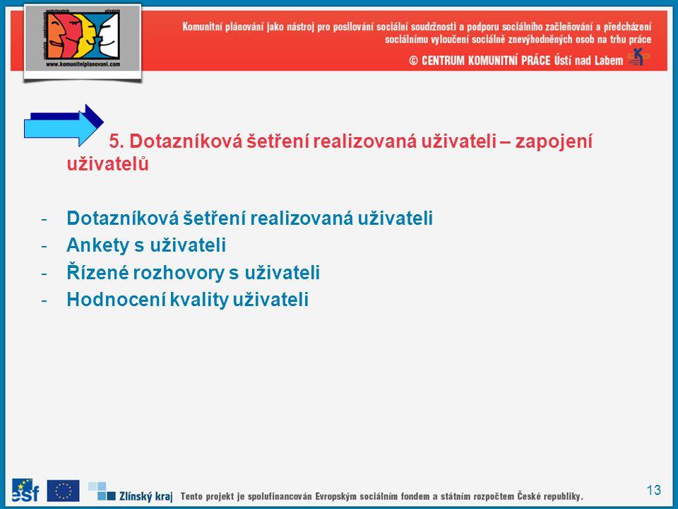 13 5. Dotazníková šetření realizovaná uživateli – zapojení uživatelů -Dotazníková šetření realizovaná uživateli -Ankety s uživateli -Řízené rozhovory
