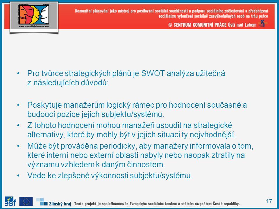 17 •Pro tvůrce strategických plánů je SWOT analýza užitečná z následujících důvodů: •Poskytuje manažerům logický rámec pro hodnocení současné a budouc
