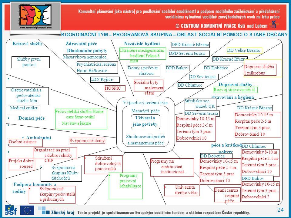 24 •Překopírovat tabulku Krizové službyZdravotní péčeNezávislé bydlení Dlouhodobé pobyty • Dopravní služby, • stravování a hygiena •Domácí péče • • Am
