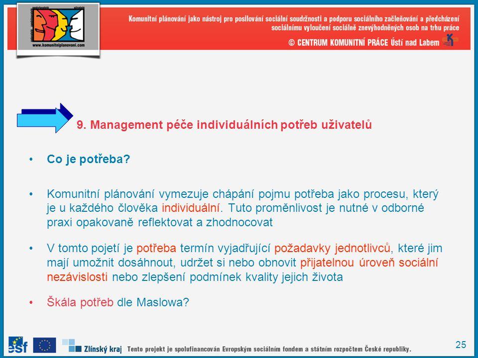 25 9. Management péče individuálních potřeb uživatelů •Co je potřeba? •Komunitní plánování vymezuje chápání pojmu potřeba jako procesu, který je u kaž