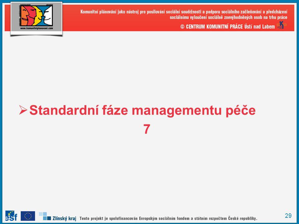 29  Standardní fáze managementu péče 7