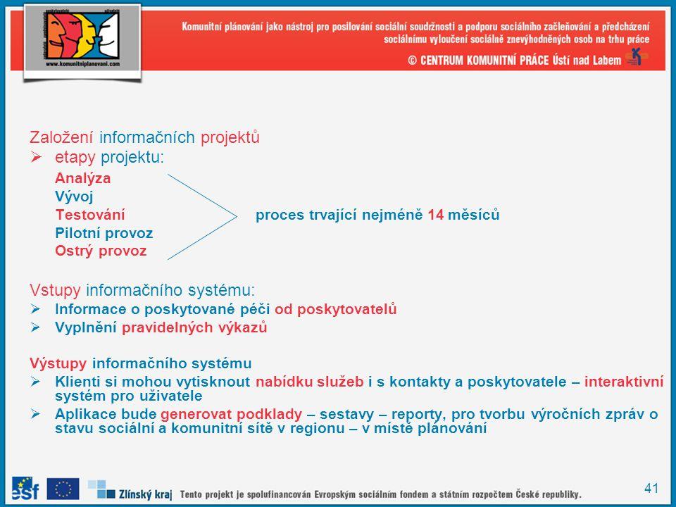 41 Založení informačních projektů  etapy projektu: Analýza Vývoj Testování proces trvající nejméně 14 měsíců Pilotní provoz Ostrý provoz Vstupy infor