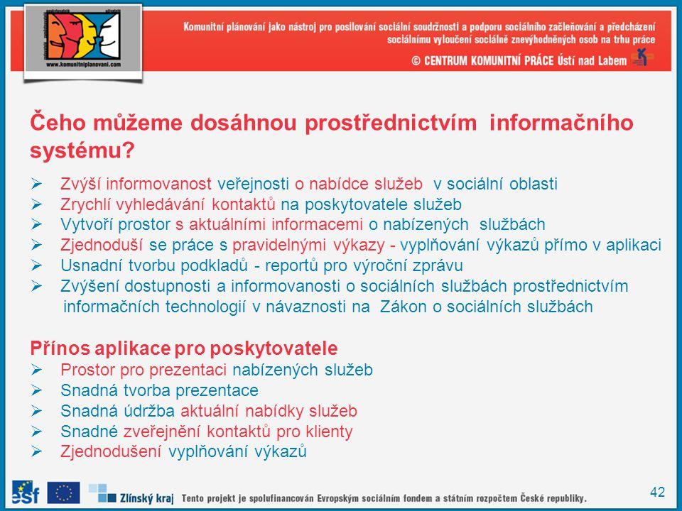 42 Čeho můžeme dosáhnou prostřednictvím informačního systému?  Zvýší informovanost veřejnosti o nabídce služeb v sociální oblasti  Zrychlí vyhledává