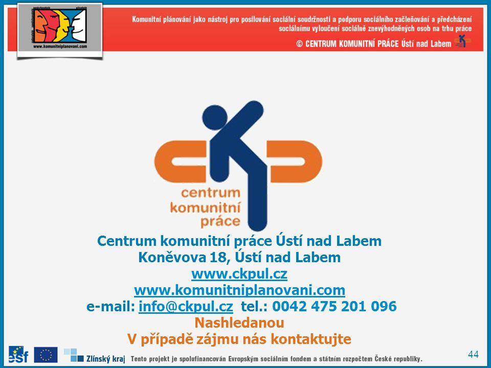 44 Centrum komunitní práce Ústí nad Labem Koněvova 18, Ústí nad Labem www.ckpul.cz www.komunitniplanovani.com e-mail: info@ckpul.cz tel.: 0042 475 201