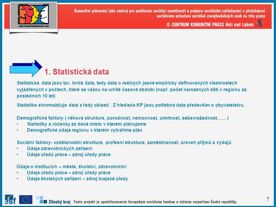 7 1. Statistická data Statistická data jsou tzv. tvrdá data, tedy data o reálných jasně empiricky definovaných vlastnostech vyjádřených v počtech, kte