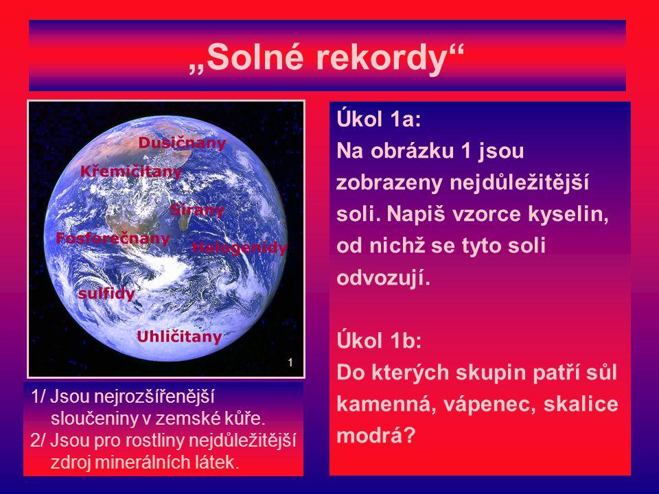 """""""Solné rekordy Úkol 1a: Na obrázku 1 jsou zobrazeny nejdůležitější soli."""
