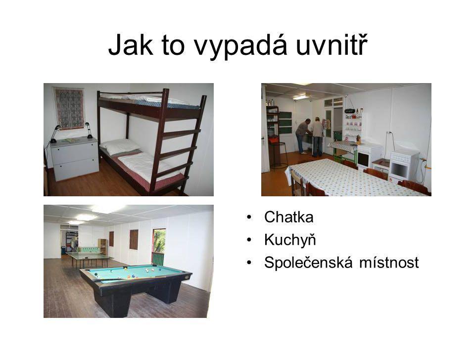 Jak to vypadá uvnitř •Chatka •Kuchyň •Společenská místnost
