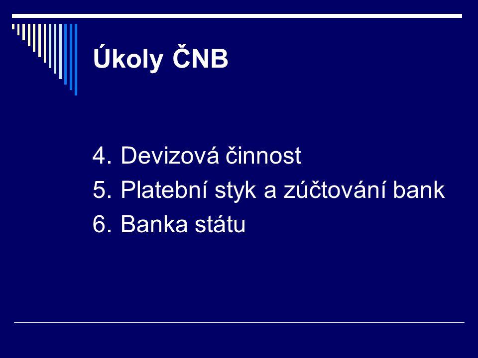 Úkoly ČNB 4.Devizová činnost 5.Platební styk a zúčtování bank 6.Banka státu