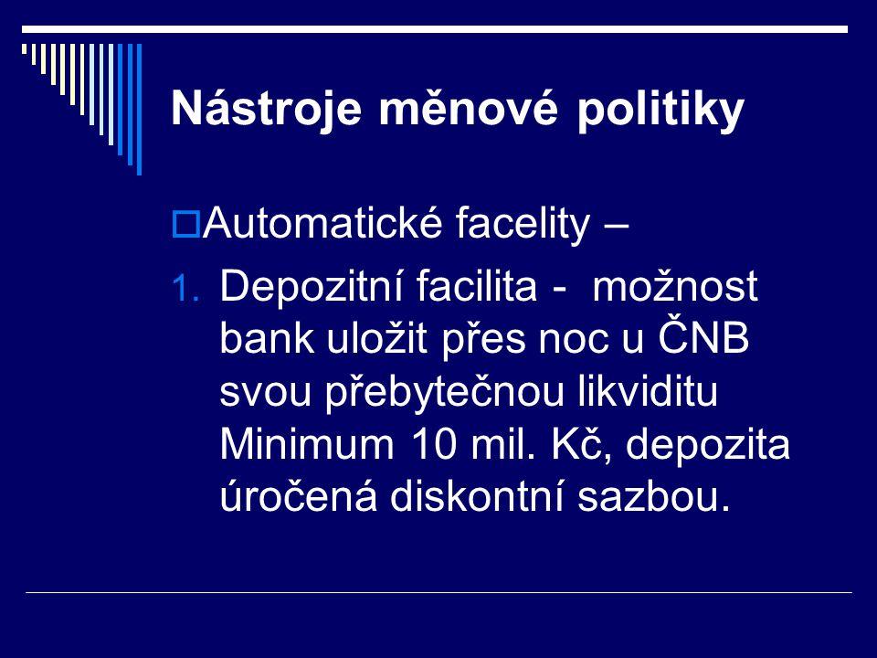 Nástroje měnové politiky  Automatické facelity – 1. Depozitní facilita - možnost bank uložit přes noc u ČNB svou přebytečnou likviditu Minimum 10 mil