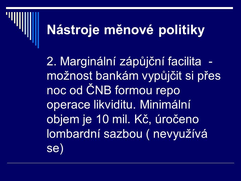 Nástroje měnové politiky 2. Marginální zápůjční facilita - možnost bankám vypůjčit si přes noc od ČNB formou repo operace likviditu. Minimální objem j