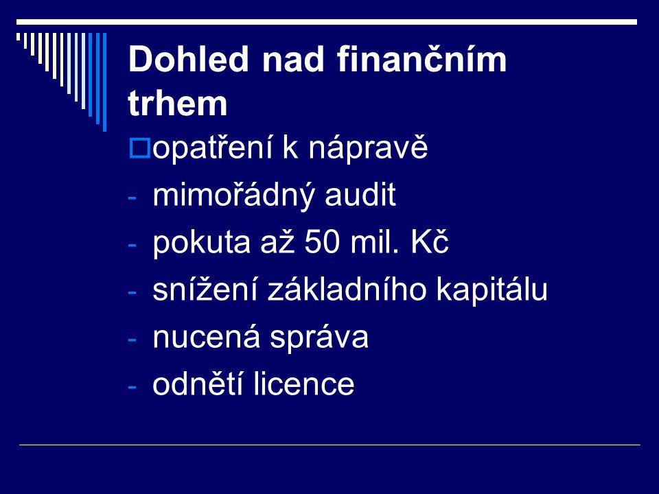 Dohled nad finančním trhem  opatření k nápravě - mimořádný audit - pokuta až 50 mil. Kč - snížení základního kapitálu - nucená správa - odnětí licenc