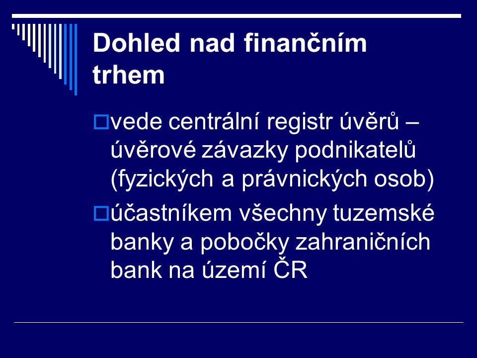 Dohled nad finančním trhem  vede centrální registr úvěrů – úvěrové závazky podnikatelů (fyzických a právnických osob)  účastníkem všechny tuzemské b