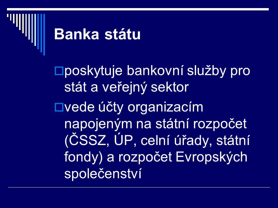 Banka státu  poskytuje bankovní služby pro stát a veřejný sektor  vede účty organizacím napojeným na státní rozpočet (ČSSZ, ÚP, celní úřady, státní