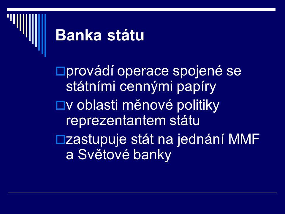 Banka státu  provádí operace spojené se státními cennými papíry  v oblasti měnové politiky reprezentantem státu  zastupuje stát na jednání MMF a Sv