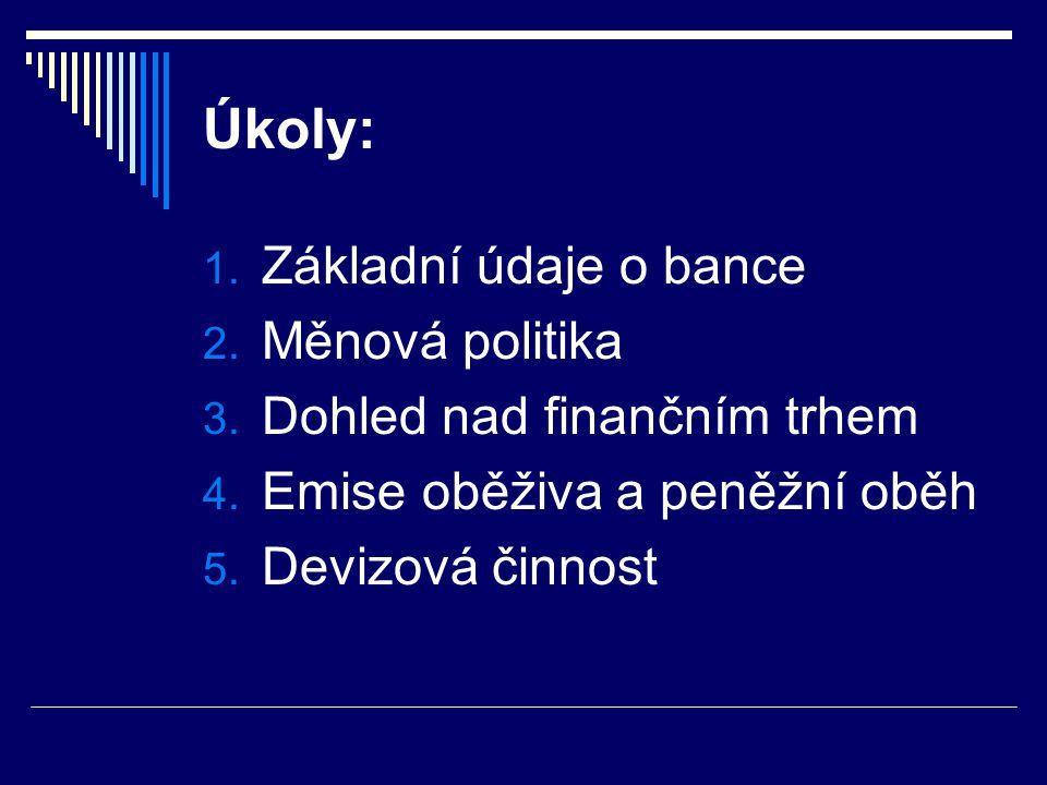 Úkoly: 1. Základní údaje o bance 2. Měnová politika 3. Dohled nad finančním trhem 4. Emise oběživa a peněžní oběh 5. Devizová činnost
