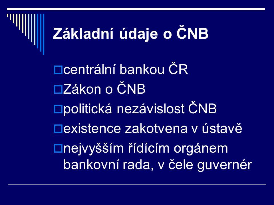 Základní údaje o ČNB  centrální bankou ČR  Zákon o ČNB  politická nezávislost ČNB  existence zakotvena v ústavě  nejvyšším řídícím orgánem bankov