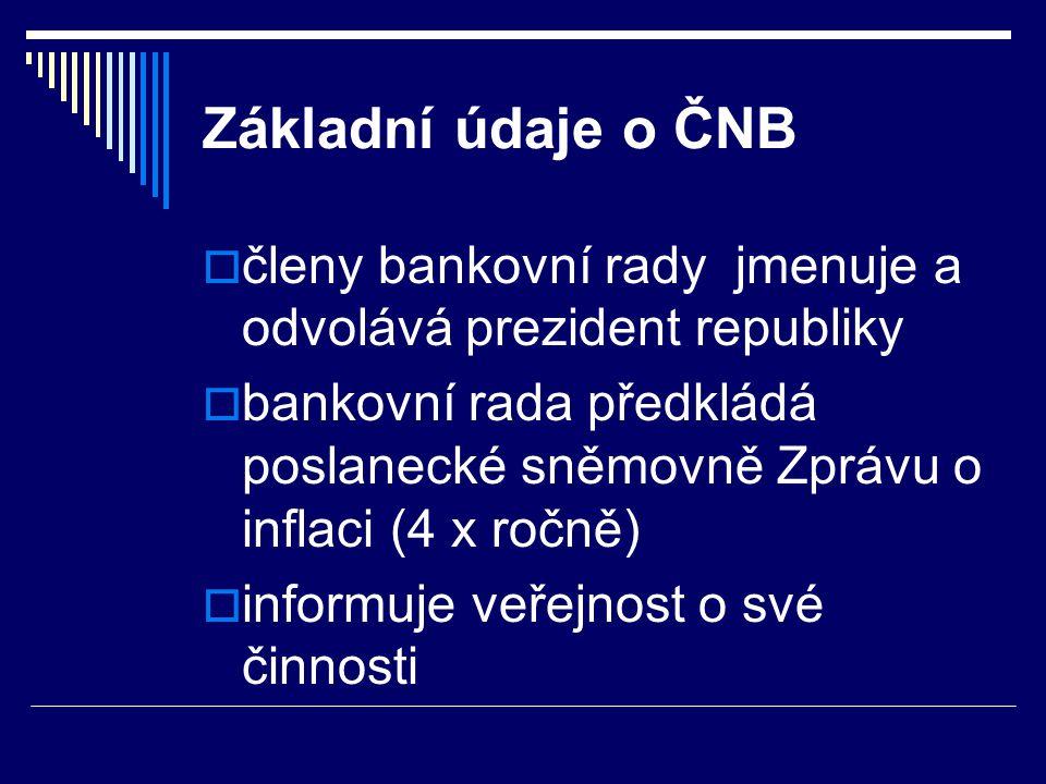 Základní údaje o ČNB  členy bankovní rady jmenuje a odvolává prezident republiky  bankovní rada předkládá poslanecké sněmovně Zprávu o inflaci (4 x