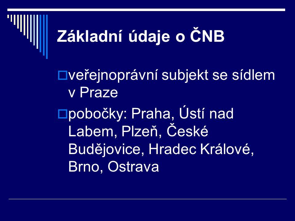 Základní údaje o ČNB  veřejnoprávní subjekt se sídlem v Praze  pobočky: Praha, Ústí nad Labem, Plzeň, České Budějovice, Hradec Králové, Brno, Ostrav