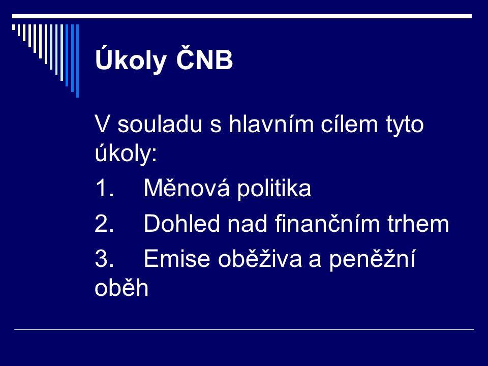 Úkoly ČNB V souladu s hlavním cílem tyto úkoly: 1.Měnová politika 2.Dohled nad finančním trhem 3.Emise oběživa a peněžní oběh