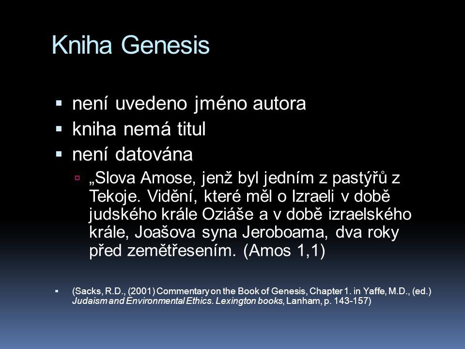 """Kniha Genesis  není uvedeno jméno autora  kniha nemá titul  není datována  """"Slova Amose, jenž byl jedním z pastýřů z Tekoje."""