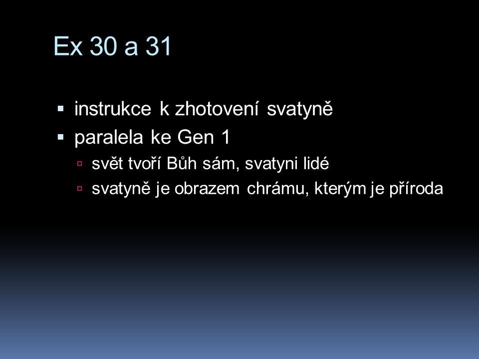 Ex 30 a 31  instrukce k zhotovení svatyně  paralela ke Gen 1  svět tvoří Bůh sám, svatyni lidé  svatyně je obrazem chrámu, kterým je příroda