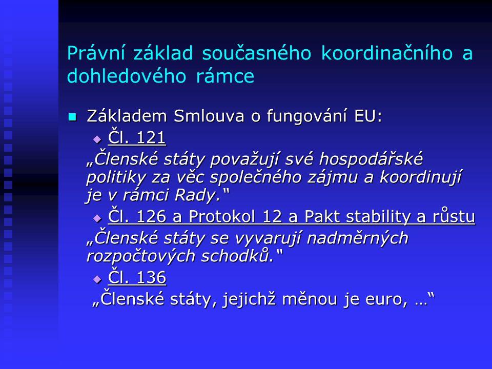 """Právní základ současného koordinačního a dohledového rámce  Základem Smlouva o fungování EU:  Čl. 121 """"Členské státy považují své hospodářské politi"""