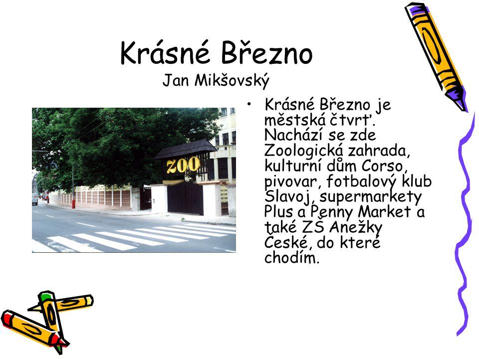 Krásné Březno Jan Mikšovský •Krásné Březno je městská čtvrť. Nachází se zde Zoologická zahrada, kulturní dům Corso, pivovar, fotbalový klub Slavoj, su