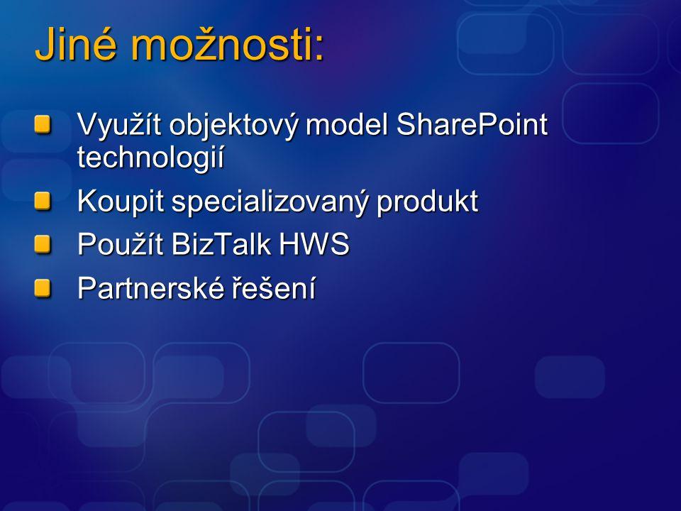 Jiné možnosti: Využít objektový model SharePoint technologií Koupit specializovaný produkt Použít BizTalk HWS Partnerské řešení
