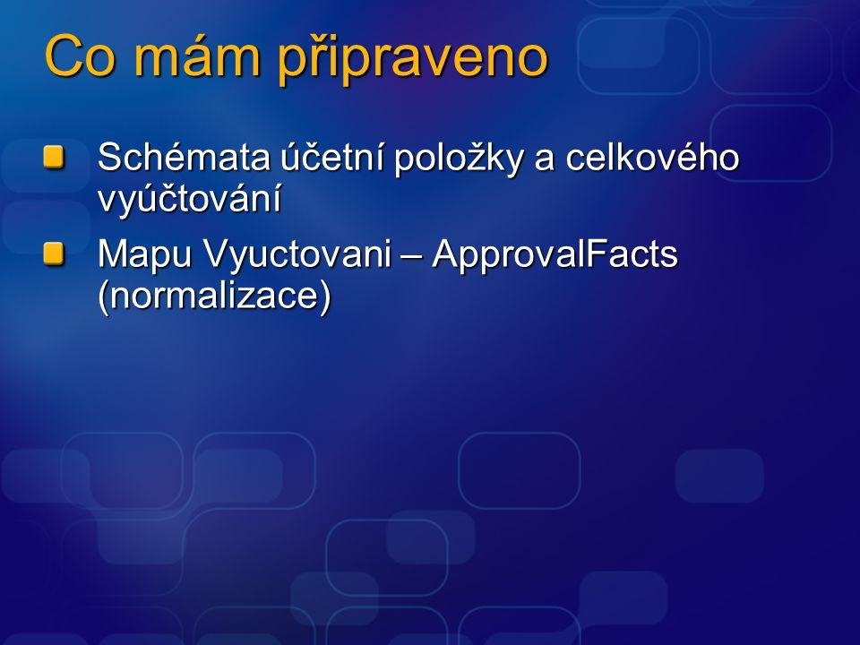 Co mám připraveno Schémata účetní položky a celkového vyúčtování Mapu Vyuctovani – ApprovalFacts (normalizace)