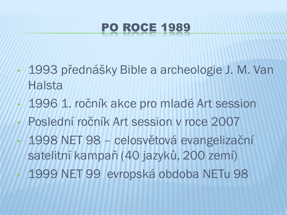 • 1993 přednášky Bible a archeologie J. M. Van Halsta • 1996 1. ročník akce pro mladé Art session • Poslední ročník Art session v roce 2007 • 1998 NET
