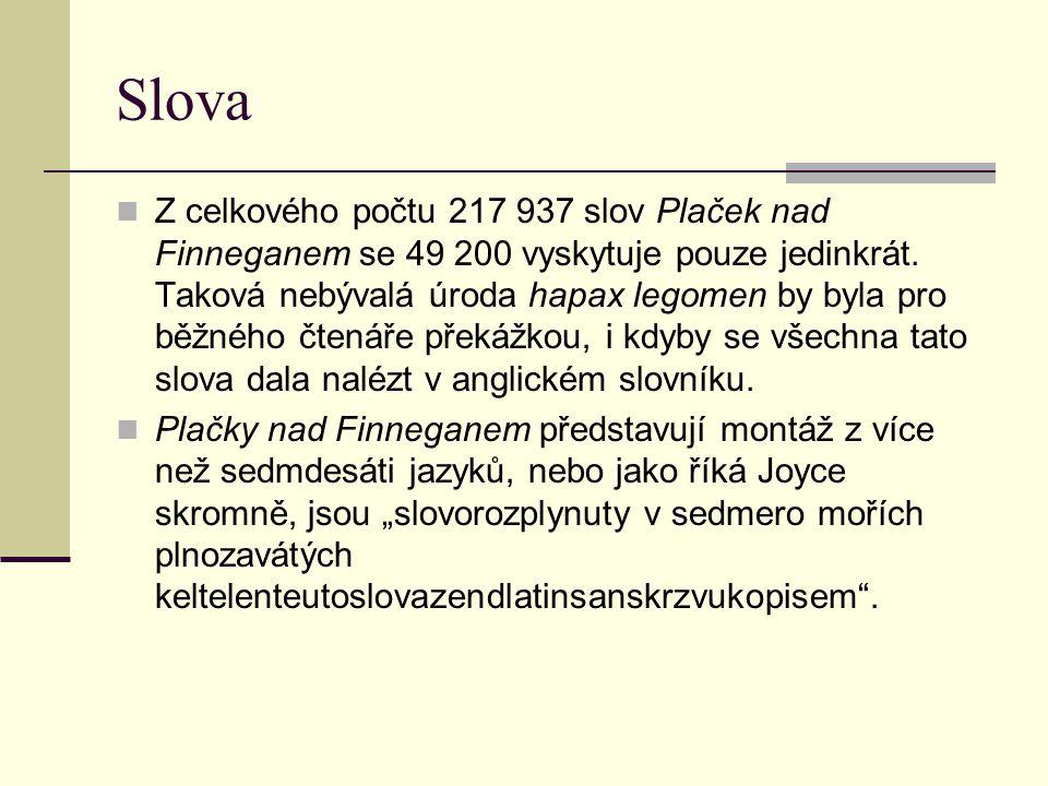 Slova  Z celkového počtu 217 937 slov Plaček nad Finneganem se 49 200 vyskytuje pouze jedinkrát. Taková nebývalá úroda hapax legomen by byla pro běžn