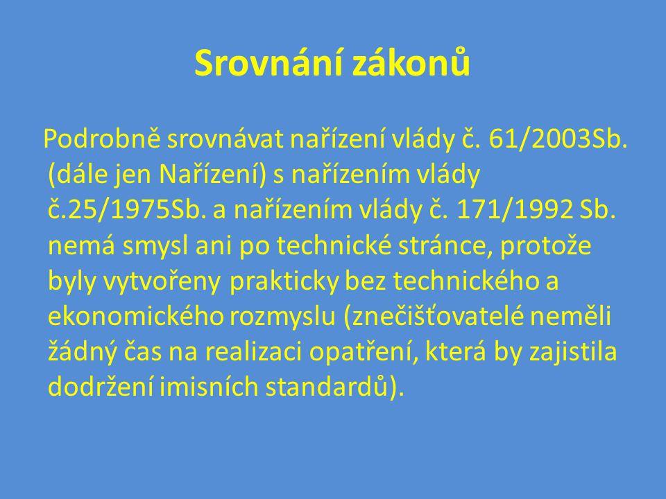 Srovnání zákonů Podrobně srovnávat nařízení vlády č. 61/2003Sb. (dále jen Nařízení) s nařízením vlády č.25/1975Sb. a nařízením vlády č. 171/1992 Sb. n