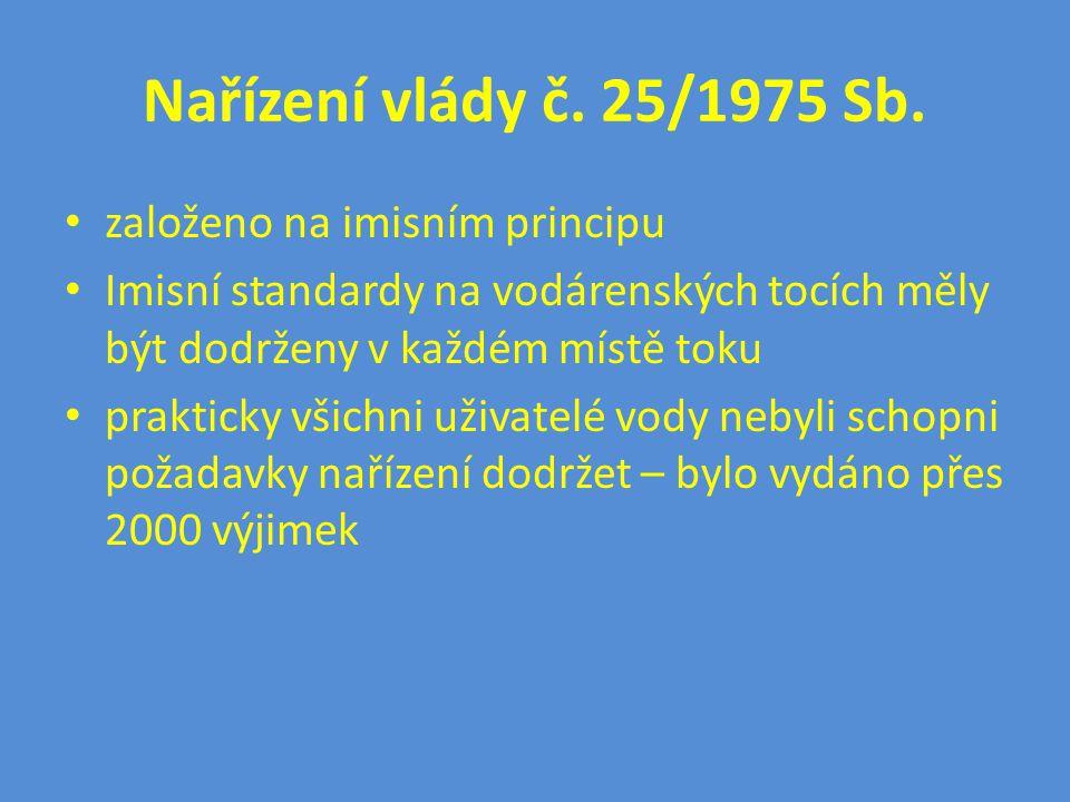 Nařízení vlády č. 25/1975 Sb. • založeno na imisním principu • Imisní standardy na vodárenských tocích měly být dodrženy v každém místě toku • praktic