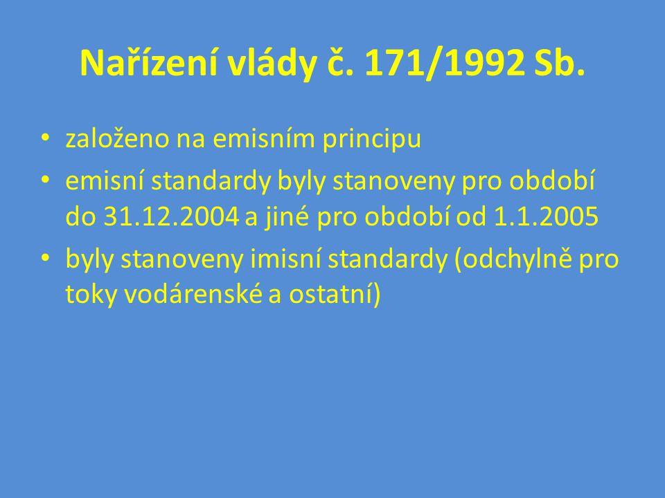 Nařízení vlády č. 171/1992 Sb. • založeno na emisním principu • emisní standardy byly stanoveny pro období do 31.12.2004 a jiné pro období od 1.1.2005