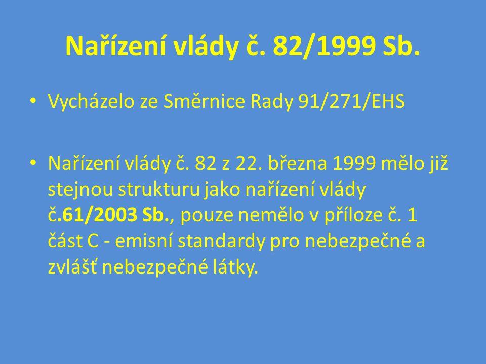 Nařízení vlády č. 82/1999 Sb. • Vycházelo ze Směrnice Rady 91/271/EHS • Nařízení vlády č. 82 z 22. března 1999 mělo již stejnou strukturu jako nařízen