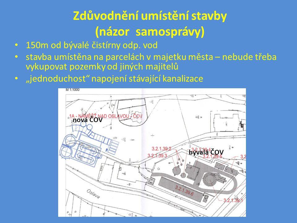 Zdůvodnění umístění stavby (názor samosprávy) • 150m od bývalé čistírny odp. vod • stavba umístěna na parcelách v majetku města – nebude třeba vykupov