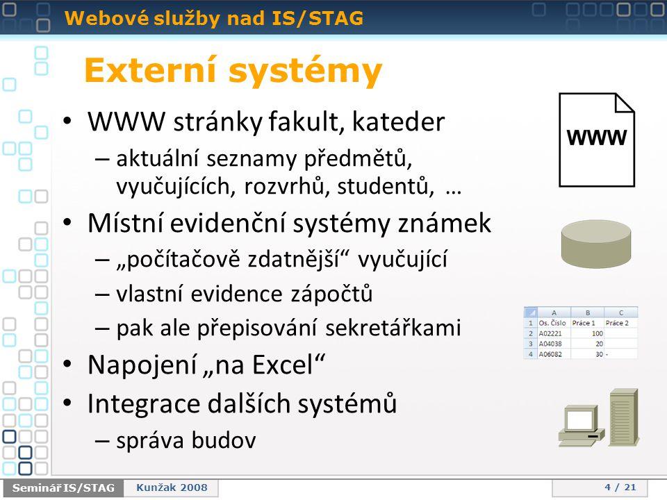 """Webové služby nad IS/STAG 4 / 21 Seminář IS/STAG Kunžak 2008 Externí systémy • WWW stránky fakult, kateder – aktuální seznamy předmětů, vyučujících, rozvrhů, studentů, … • Místní evidenční systémy známek – """"počítačově zdatnější vyučující – vlastní evidence zápočtů – pak ale přepisování sekretářkami • Napojení """"na Excel • Integrace dalších systémů – správa budov"""