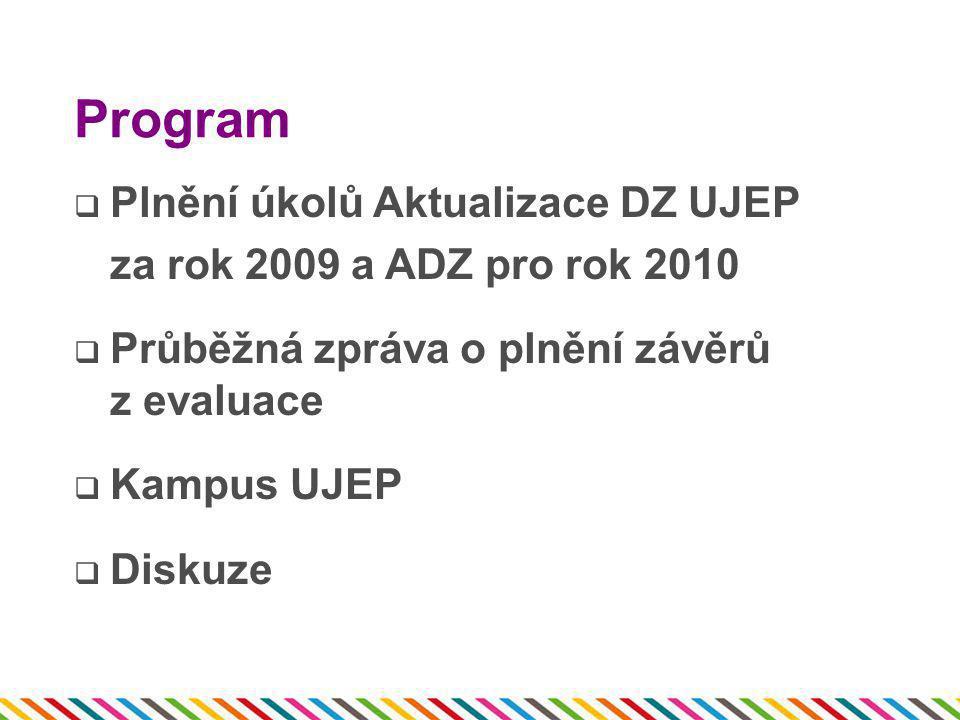 Program  Plnění úkolů Aktualizace DZ UJEP za rok 2009 a ADZ pro rok 2010  Průběžná zpráva o plnění závěrů z evaluace  Kampus UJEP  Diskuze