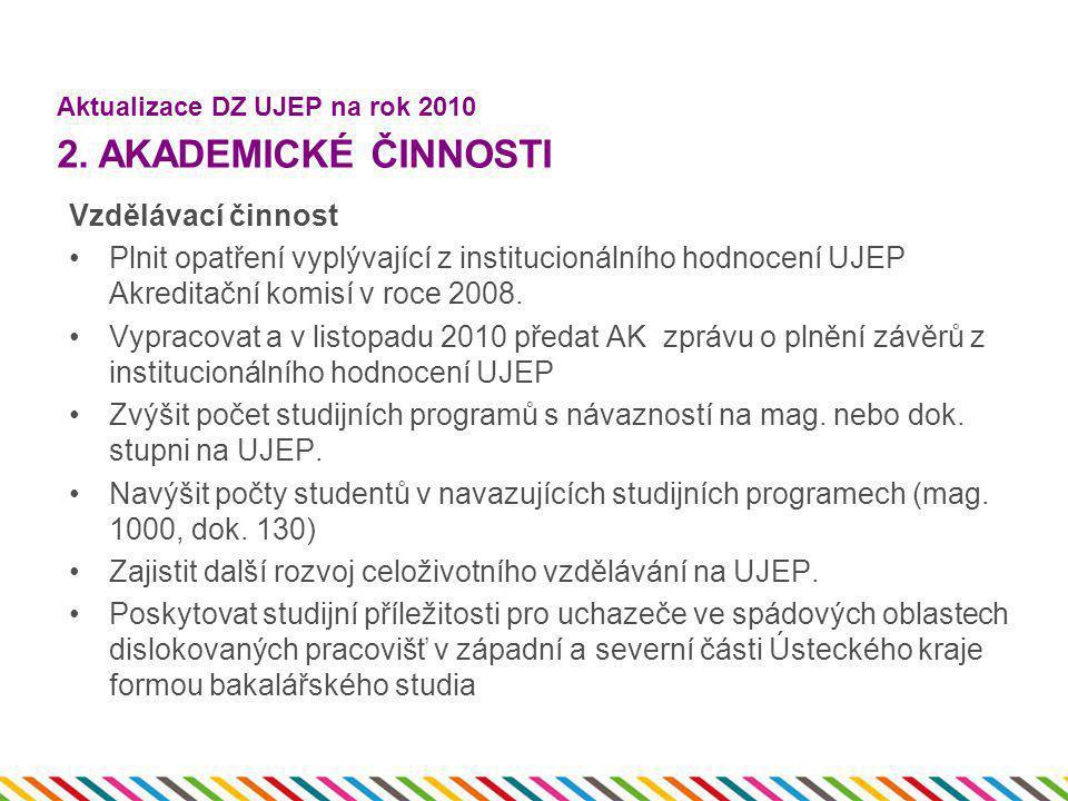 Vzdělávací činnost •Plnit opatření vyplývající z institucionálního hodnocení UJEP Akreditační komisí v roce 2008. •Vypracovat a v listopadu 2010 předa